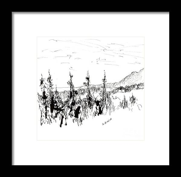 Ink Drawing Framed Print featuring the drawing Ink Sketch by Karina Plachetka