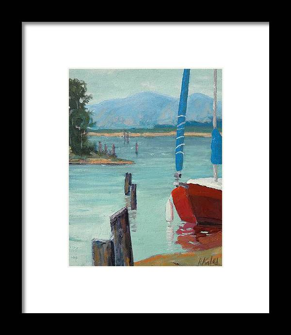 Framed Print featuring the painting Inlet With Sailboat  Laconner Wa by Raymond Kaler