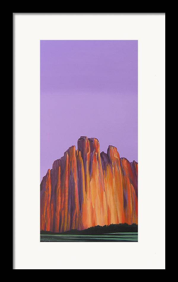 Landscape Framed Print featuring the painting Inscription Rock by Hunter Jay