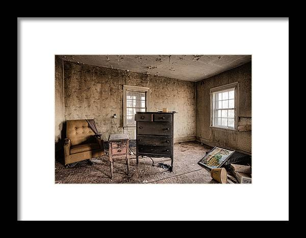 Life Framed Print featuring the photograph Inside Abandoned House Photos - Old Room - Life Long Gone by Gary Heller