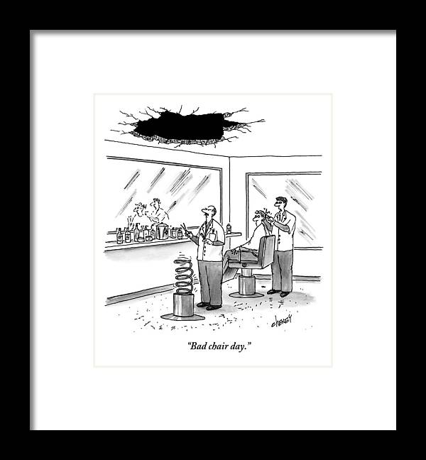 Cctk Framed Print featuring the drawing Inside Of A Barbershop There Is A Hole by Tom Cheney