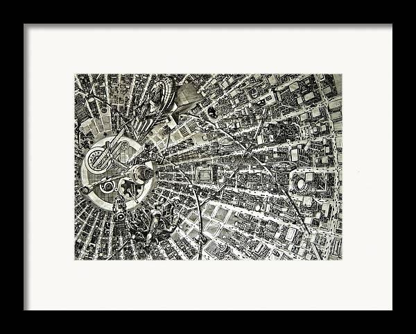 Cityscape Framed Print featuring the drawing Inside Orbital City by Murphy Elliott