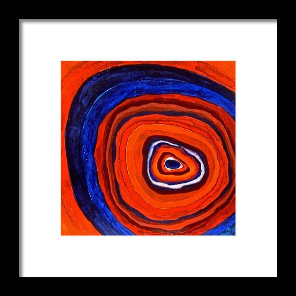 Abstract Framed Print featuring the painting Inside - Panel I by Sandra Gail Teichmann-Hillesheim
