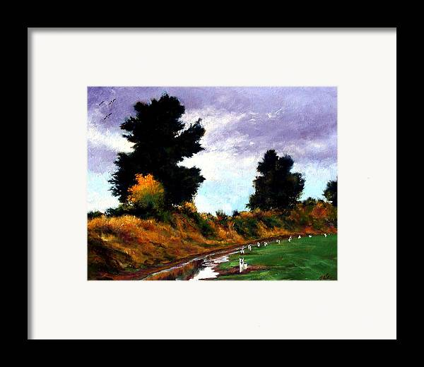 Landscape Framed Print featuring the painting Inside The Dike by Jim Gola
