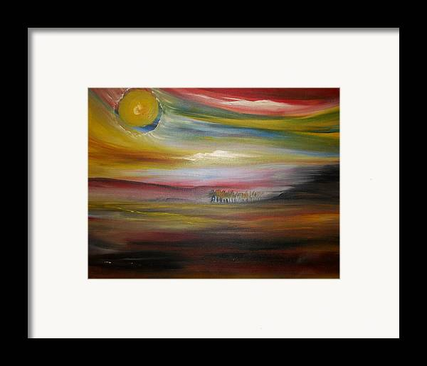Landscape Framed Print featuring the painting Inside The Sunset by Jake Huenink