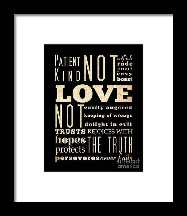 Inspirational Art - Love Framed Print featuring the digital art Inspirational Art - Love Never . by Joy House Studio