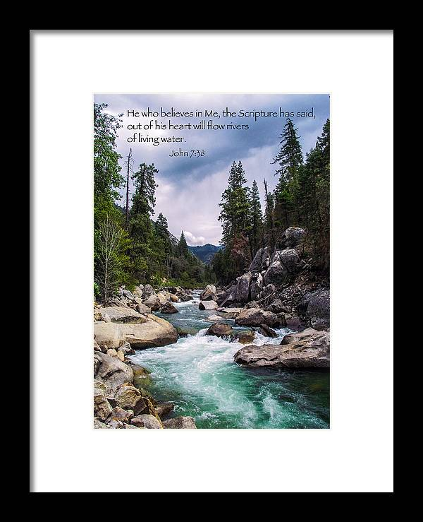 Inspirational Bible Scripture Emerald Flowing River Fine Art Original  Photography Framed Print