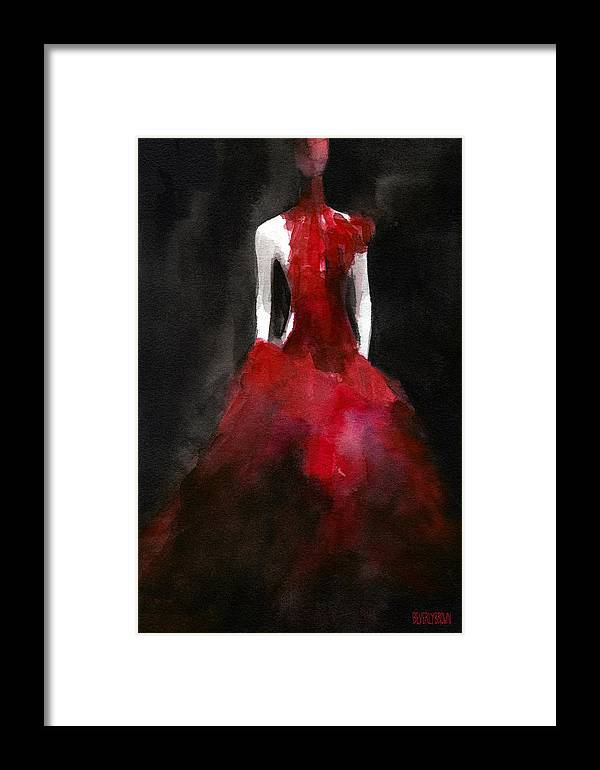 Fashion Framed Print featuring the painting Inspired By Alexander Mcqueen Fashion Illustration Art Print by Beverly Brown