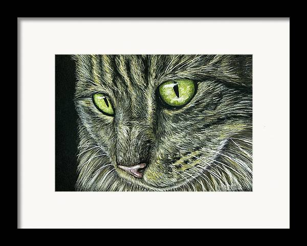 Cat Framed Print featuring the painting Intense by Michelle Wrighton