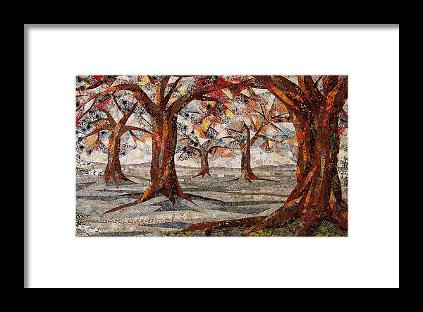 Trees Framed Print featuring the tapestry - textile Interwoven by Linda Beach