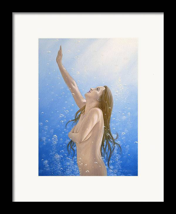 Mermaid Framed Print featuring the painting Into The Light by John Silver
