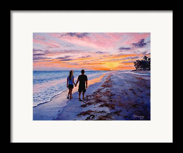 Beach Framed Print featuring the painting Into The Sunset by Mary Giacomini