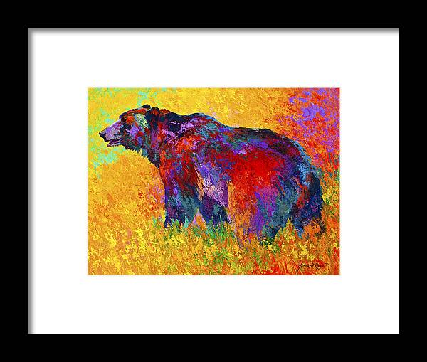 Bear Framed Print featuring the painting Into The Wind by Marion Rose