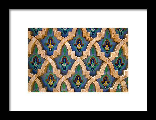 Zelij Framed Print featuring the photograph Intricate Zelji at the Hassan II Mosque Sour Jdid Casablanca Morocco by PIXELS XPOSED Ralph A Ledergerber Photography