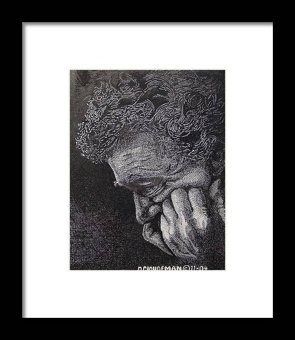 Portraiture Framed Print featuring the drawing Introspection by Denis Gloudeman