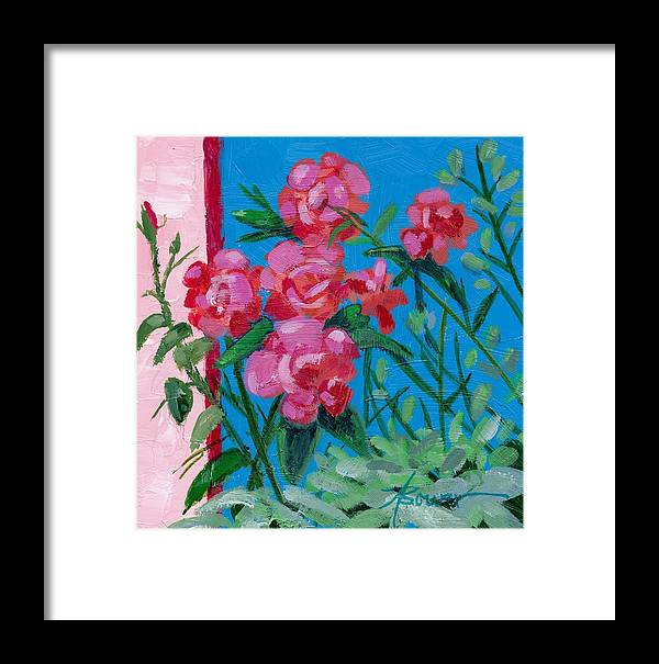 Flowers Framed Print featuring the painting Ioannina Garden by Adele Bower