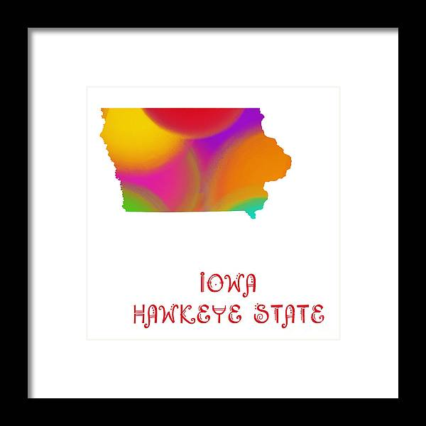 Andee Design Framed Print featuring the digital art Iowa State Map Collection 2 by Andee Design