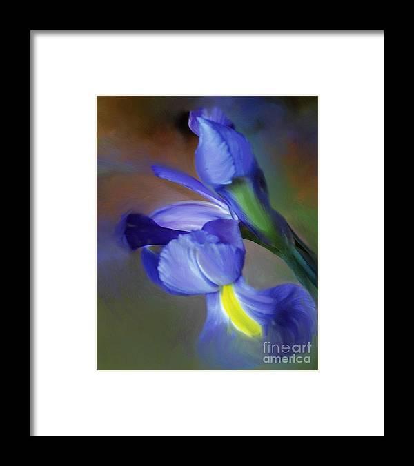 Iris Framed Print featuring the painting Iris Dream by Francine Dufour Jones