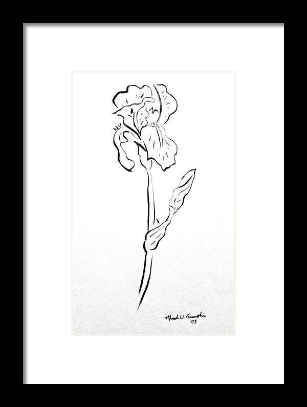 Abstract Framed Print featuring the drawing Iris II by Micah Guenther