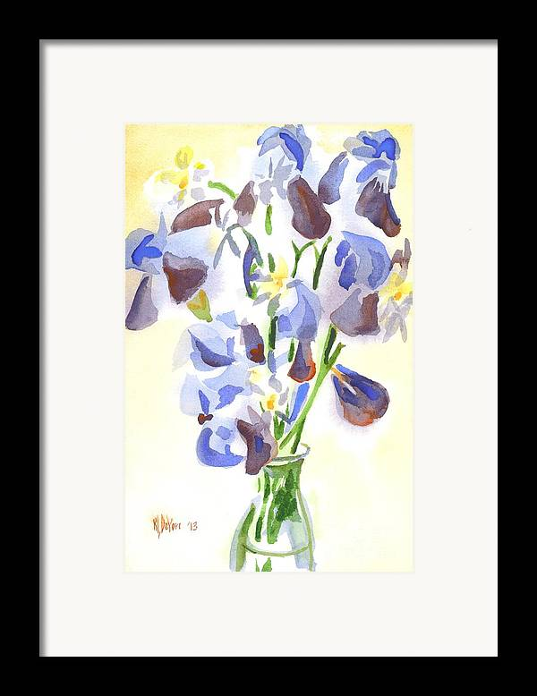 Irises Aglow Framed Print featuring the painting Irises Aglow by Kip DeVore