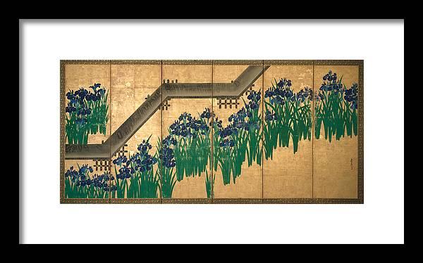 Ogata Korin Framed Print featuring the painting Irises At Yatsuhashi. Eight Bridges by Ogata Korin