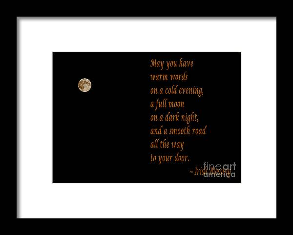 Irish Blessing 4 And Full Moon Framed Print featuring the photograph Irish Blessing 4 and Full Moon by Barbara Griffin