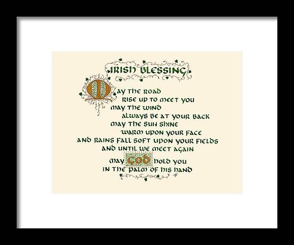 Irish Blessing Framed Print featuring the mixed media Irish Blessing by Delphine Frank