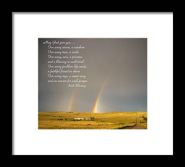 Irish Blessing Double Rainbow 07 11 14 Framed Print
