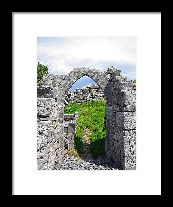 The Seven Churches Framed Print featuring the photograph Irish Church Ruins by Denise Mazzocco