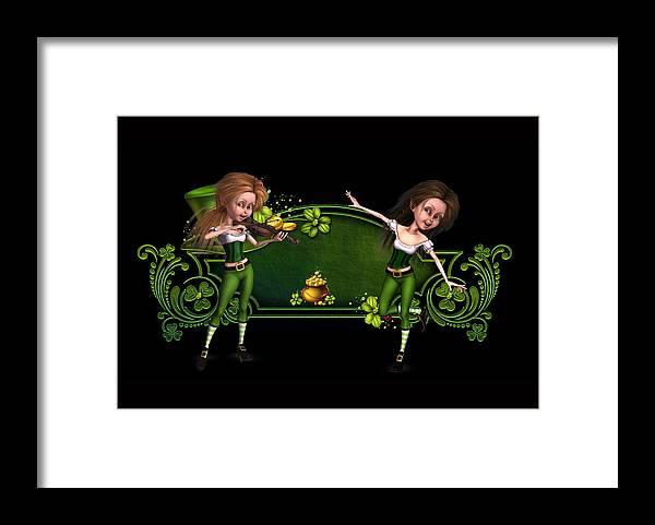 Irish Dancers Framed Print featuring the digital art Irish dancers ii by John Junek