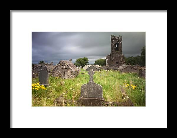 Dingle Framed Print featuring the photograph Irish Graveyard Cemetary Dark Clouds by Dirk Ercken