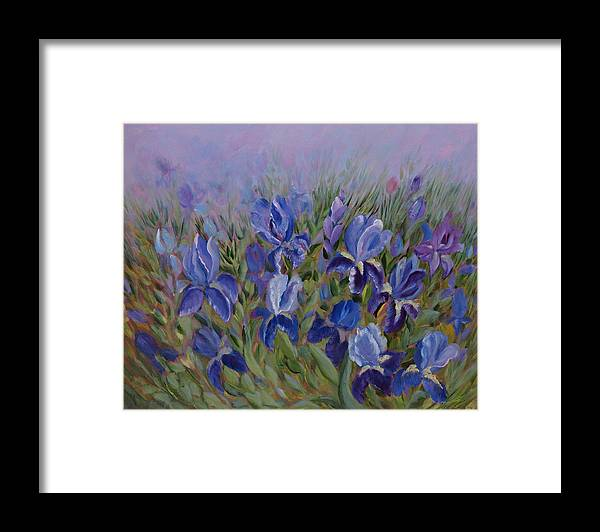 Spring Framed Print featuring the painting Irises by Joanne Smoley