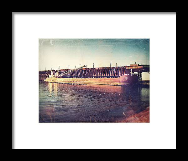 Iron Ore Freighter Framed Print featuring the digital art Iron Ore Freighter In Dock by Phil Perkins
