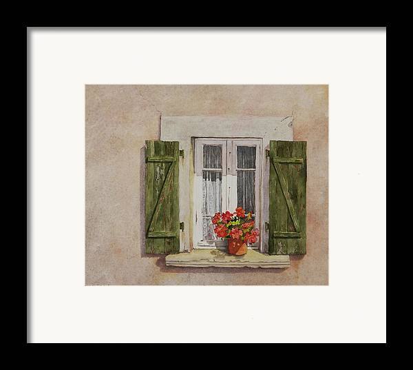 Watercolor Framed Print featuring the painting Irvillac Window by Mary Ellen Mueller Legault