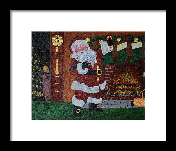 Santa Claus Framed Print featuring the painting Is Santa Here Yet? by BJ Hilton Hitchcock
