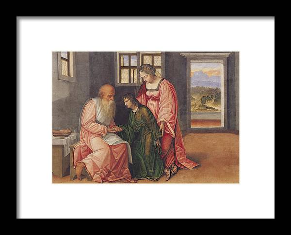 Isaac Blessing Jacob Framed Print by Girolamo da Treviso II