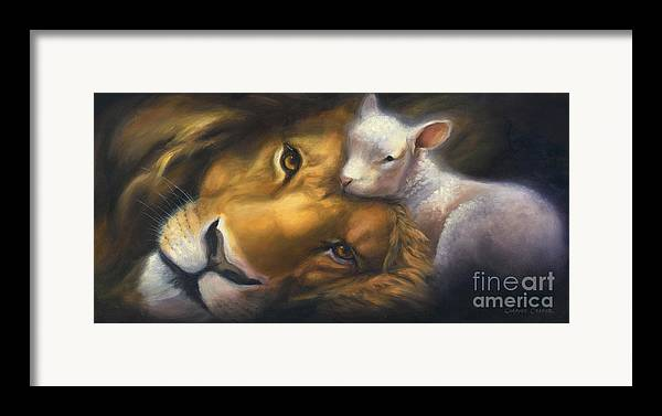 Lion And Lamb Framed Print featuring the painting Isaiah by Charice Cooper