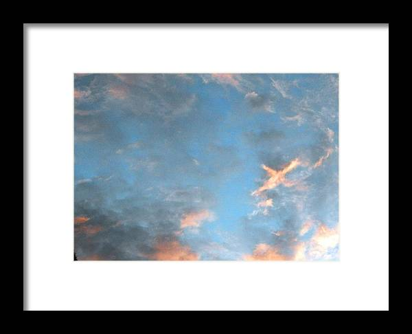 Look Up In Those Beautiful Blue And White Clouds Framed Print featuring the photograph Isee An Airplane by Belinda Lee