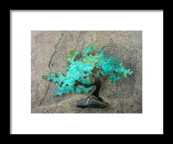Tree Framed Print featuring the sculpture Ishitsuki Copper Bonsai by Vanessa Williams