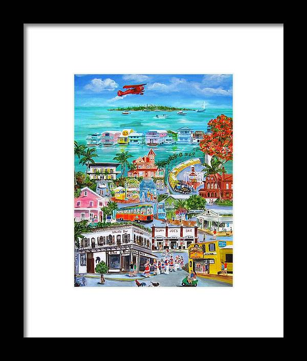 Key West Framed Print featuring the painting Island Daze by Linda Cabrera