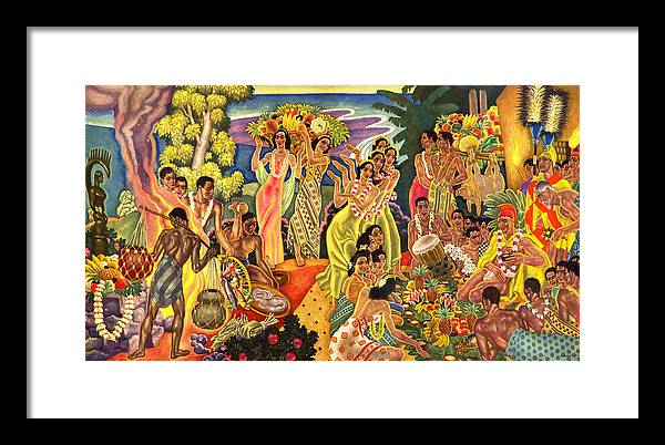 Hawaii Greeting Cards Framed Print featuring the painting Island Feast by James Temple