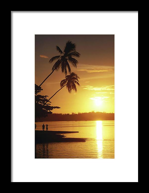 Island Silhouette At Sunset Framed Print By Holger Leue