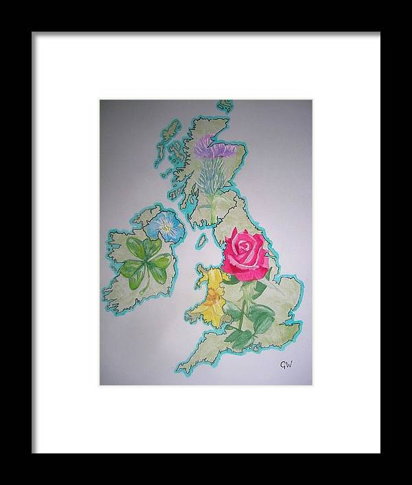 Britain Framed Print featuring the painting Isles And Flowers by Graham Wood