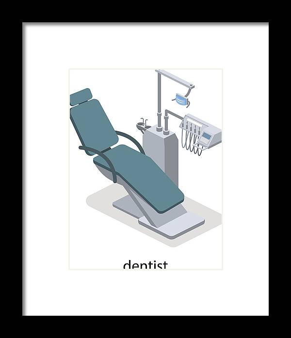 Isometric 3d Vector Illustration Of Dentist Chair  Dental Instruments For  Dental Treatment Of Patients  Medical Equipment  Framed Print