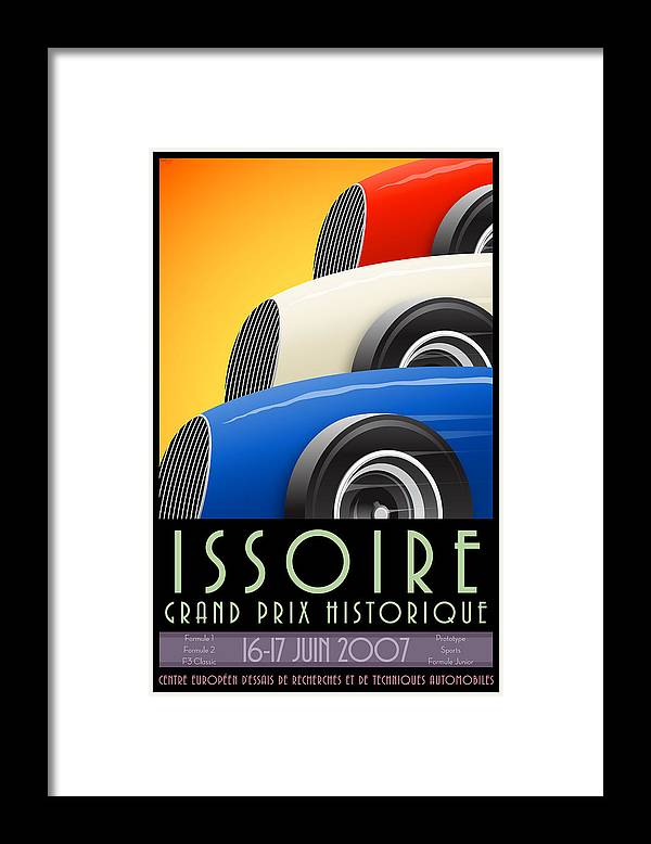 Issoire Framed Print featuring the digital art Issoire France Grand Prix Historique by Georgia Fowler