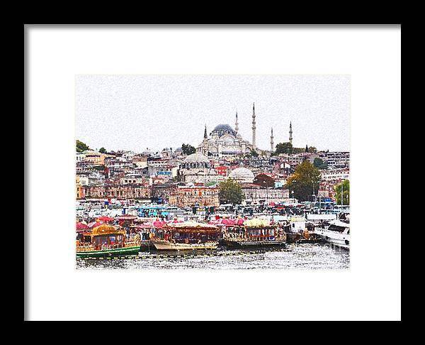 Istanbul Framed Print featuring the digital art Istanbul by Dia Karanouh
