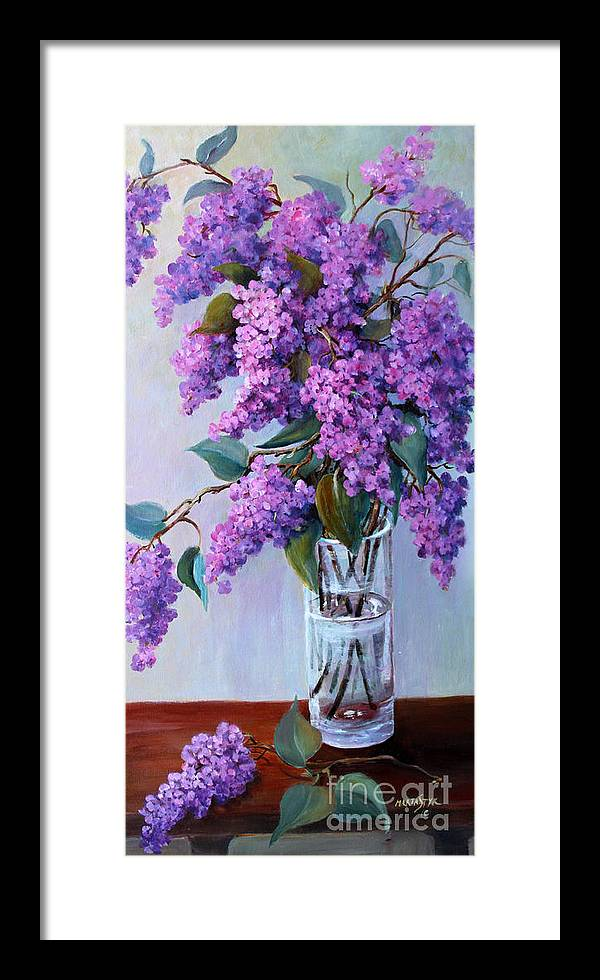 Flowers Framed Print featuring the painting It Is Lilac Time by Marta Styk