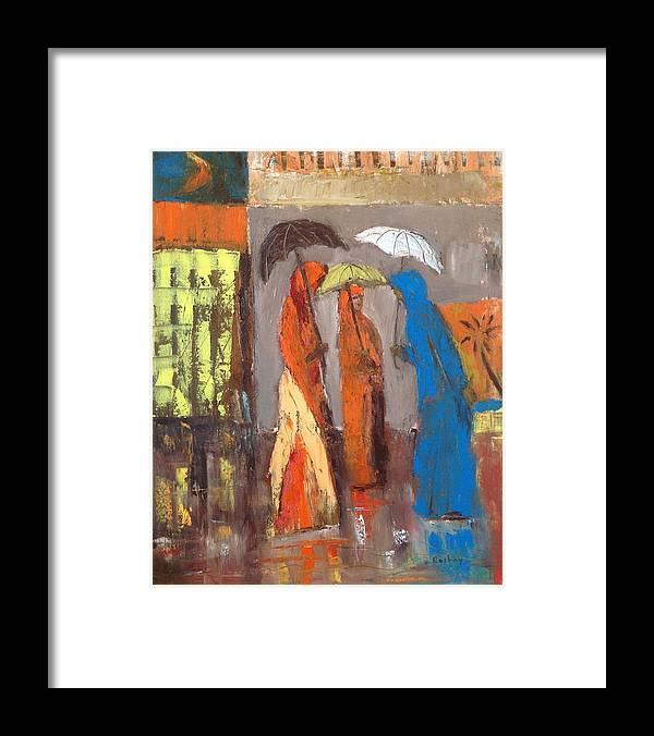 Rain Framed Print featuring the painting It Is Raining by Brigitte Roshay