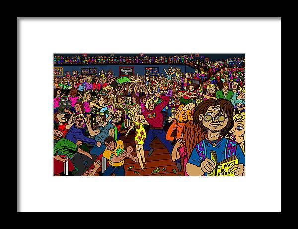 Nightclub Scene Framed Print featuring the drawing It Must Be Friday by Karen Elzinga