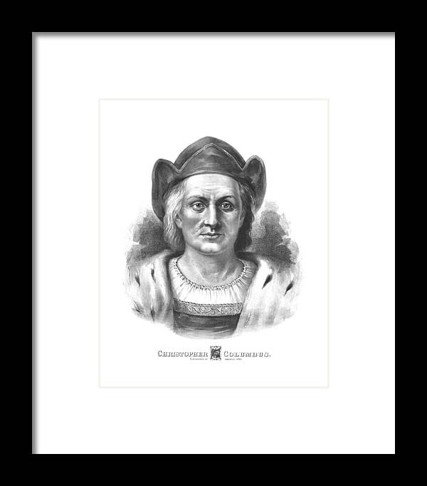 Christopher Columbus Framed Print featuring the drawing Italian Explorer Christopher Columbus by War Is Hell Store